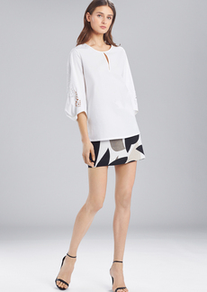 Josie Natori Cotton Shirting Top With Pleated Sleeves