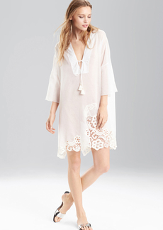 Josie Natori Cotton Voile With Lace Short Caftan