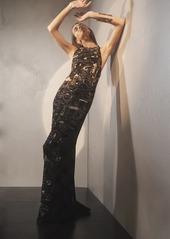Josie Natori Crepe Halter Dress With Gold Beading