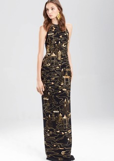 Josie Natori Crepe Halter Dress With Gold Beading