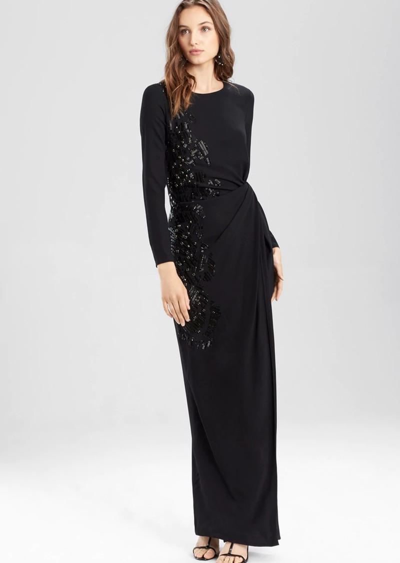 Josie Natori Crepe Twist Dress With Embellishment