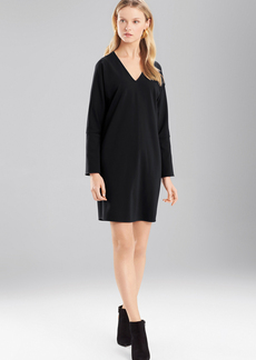 Josie Natori Double Knit Jersey V-Neck Dress With Sleeves