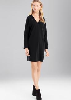 Josie Natori Double Knit Jersey V-Neck Dress With Sleeves