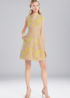 Josie Natori Evening Jacquard V-Neck Dress