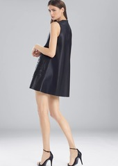 Josie Natori Faux Leather Dress With Embroidery