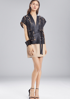 Josie Natori Faux Leather Short Cut-Out Vest