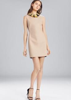 Josie Natori Faux Leather Sleeveless Dress