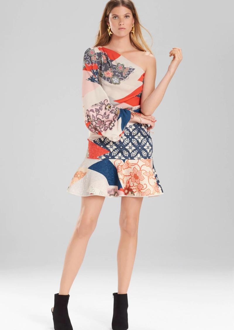 Josie Natori Kimono Geo One Shoulder Top