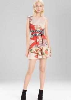Josie Natori Kimono Patchwork Ruffle Hem Dress