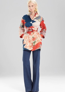 Josie Natori Kimono Patchwork Seamed Long Topper With Sash