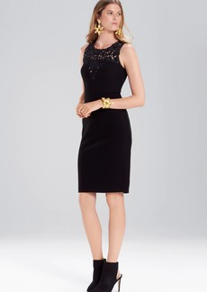 Josie Natori Knit Crepe Embroidered Sheath Dress