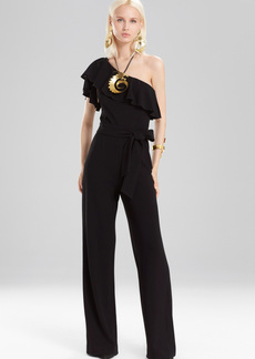 Josie Natori Knit Crepe One Shoulder Ruffle Jumpsuit