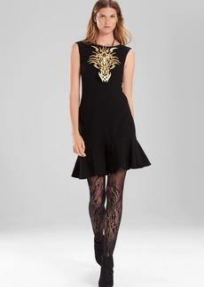 Josie Natori Knit Crepe Ruffle Hem Dress