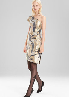 Josie Natori Metallic Jacquard Dress