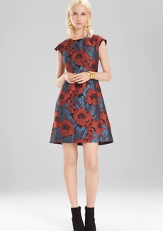 Josie Natori Novelty Jacquard Cap Sleeve Dress
