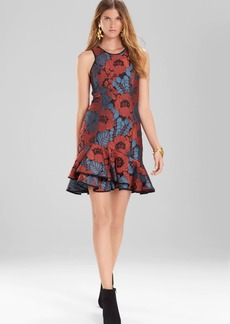 Josie Natori Novelty Jacquard Sleeveless Ruffle Hem Dress