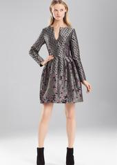 Josie Natori Ornamental Jacquard Long Sleeve Dress
