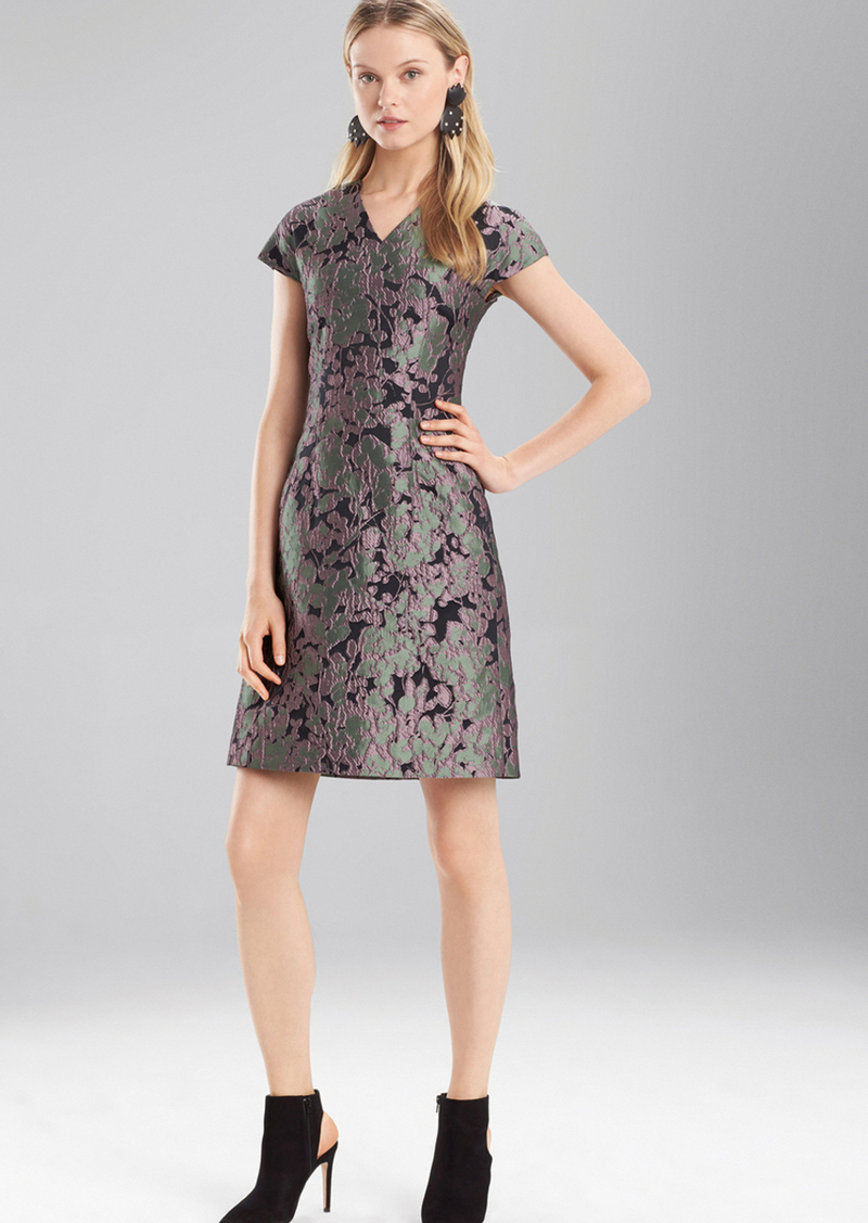 Josie Natori Ornamental Jacquard V-Neck Dress