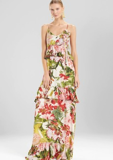 Josie Natori Paradise Floral Tiered Maxi Dress