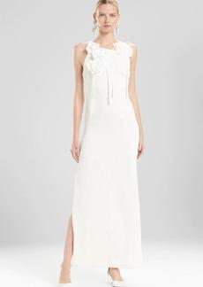 Josie Natori Plisse Gown With Corsage