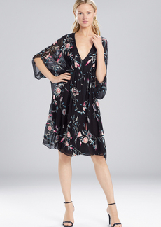 Josie Natori Pressed Flower Printed Silk Chiffon Caftan Dress