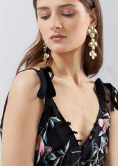 Josie Natori Pressed Flower Printed Silk Chiffon Dress