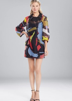 Josie Natori Printed Gauze Dress With Pleated Sleeves
