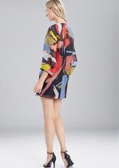 Josie Natori Printed Gauze Dress With Pleated Sleeves