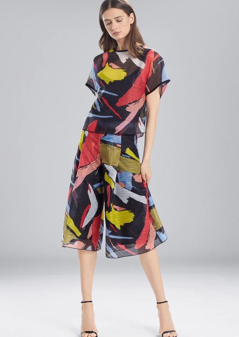 Josie Natori Printed Gauze Short Sleeve Top