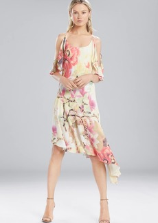 Josie Natori Printed Silky Soft Ruffle Sleeve Dress
