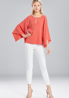 Josie Natori Satin Back Crepe Flutter Sleeve Top