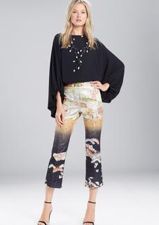 Josie Natori Scenery Metallic Jacquard Culotte Pants