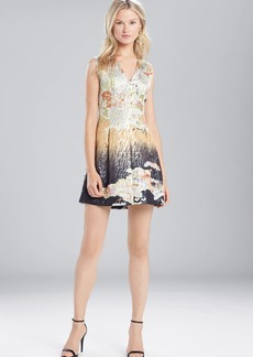 Josie Natori Scenery Metallic Jacquard Front Pleated Dress
