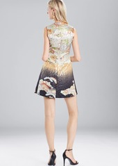 Josie Natori Scenery Metallic Jacquard Front Pleated Dress