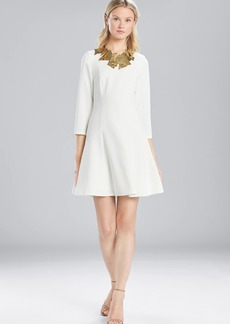 Josie Natori Solid Crepe Longsleeve Dress