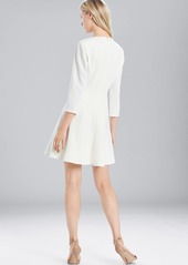 Josie Natori Solid Crepe Longsleeve Dress