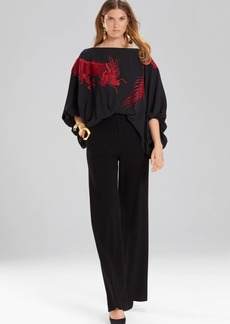 Josie Natori Solid Silky Soft Dragon Embroidery Top