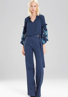 Josie Natori Solid Silky Soft Peasant Top With Embroidery