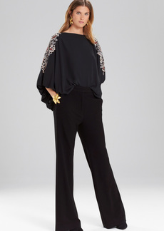 Josie Natori Solid Silky Soft Poet Sleeve Top With Embroidery
