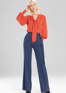 Josie Natori Solid Silky Soft Tie Neck Blouse