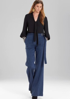 Josie Natori Solid Silky Soft Tie Neck Blouse With Embroidery
