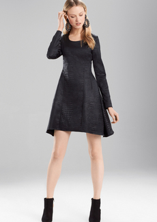 Josie Natori Stretch Embossed Crocodile Long Sleeve Dress