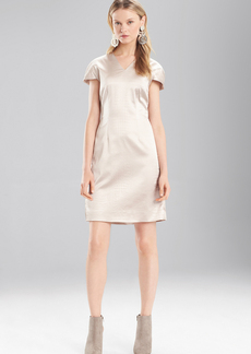 Josie Natori Stretch Embossed Crocodile V-Neck Dress