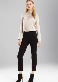 Josie Natori Stretch Silk Mandarin Collar Top