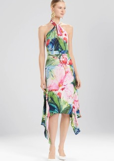 Josie Natori Sunset Palms Halter Maxi Dress