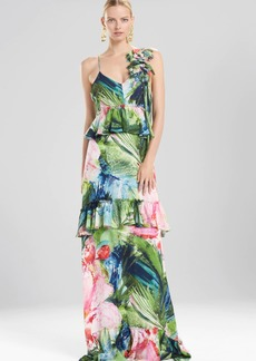 Josie Natori Sunset Palms Tiered Maxi Dress With Corsage