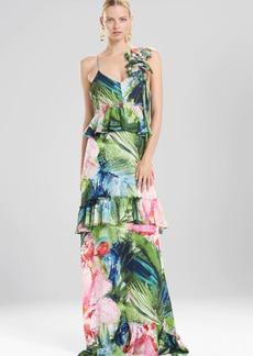 Josie Natori Sunset Palms Tiered Maxi Dress With Corsage