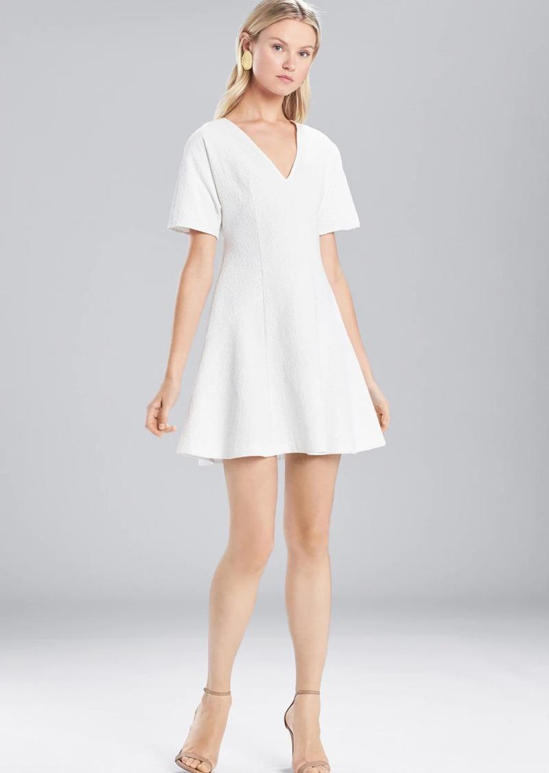 Josie Natori Textured Cotton Short Sleeve Dress