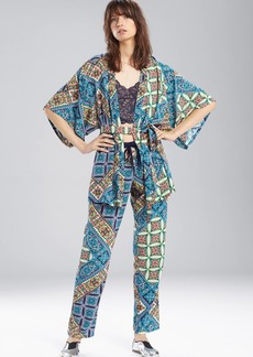 Josie Summer Festival Happi Coat Blue Topaz With Ivory