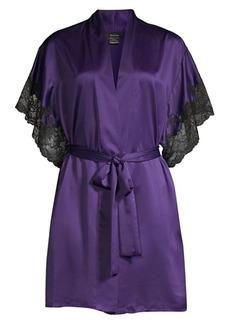Natori Lace-Trim Satin Robe